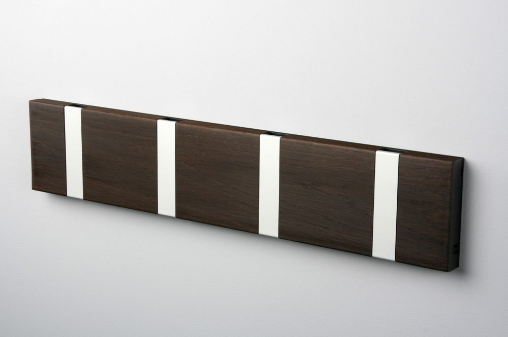 KNAX Coat Rack in Smoked Oak with 2 gray hooks