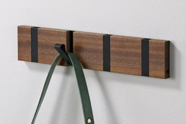 Flip hook rack Mahogany wood black 8 hooks