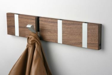 wall mount coat rack in Oiled Walnut Wood with 4 gray hooks