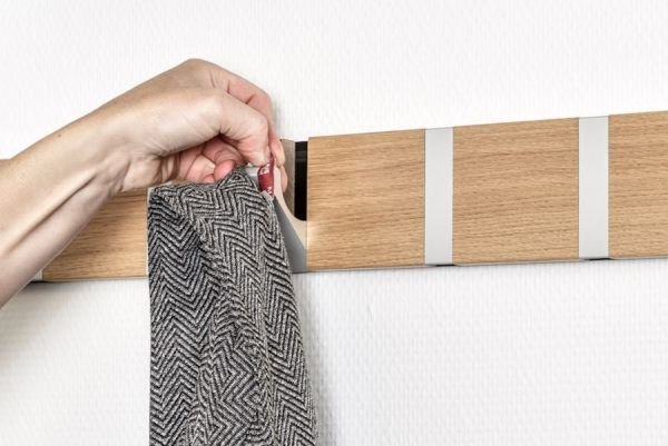 Coat rack wall mounted in solid wood. Handcrafted in Denmark since 1995